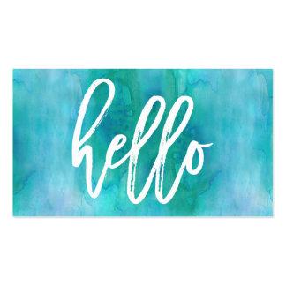 Chic Hello Aqua Watercolor | Business Card