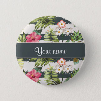 Chic Hibiscus Flowers and Stripes 6 Cm Round Badge