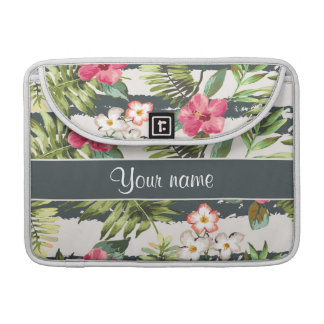 Chic Hibiscus Flowers and Stripes Sleeves For MacBook Pro