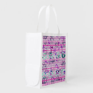 Chic Hipster Roses & Aztec Reusable Grocery Bag