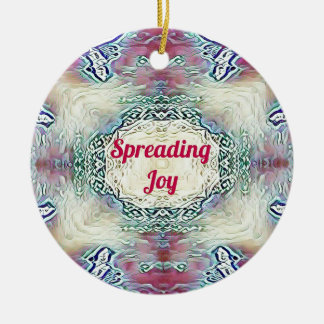 Chic Holiday Season Burgundy Spreading Joy Ceramic Ornament