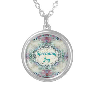 Chic Holiday Season Green 'Spreading Joy' Silver Plated Necklace