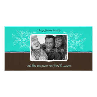 Chic Holly Christmas Photo Card in Blue