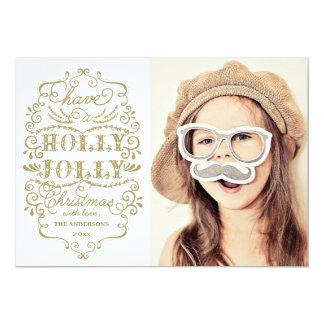 Chic Holly Jolly Christmas Holidays Photo Cards 13 Cm X 18 Cm Invitation Card