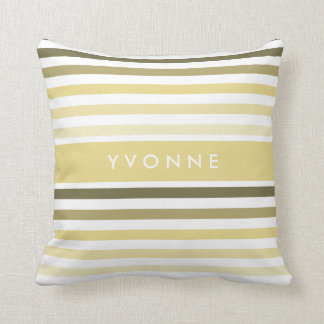 Chic Horizontal Stripes With Name in Soft Yellow Cushion
