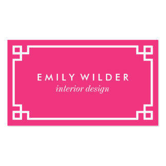 Chic Hot Pink and White Greek Key Pack Of Standard Business Cards