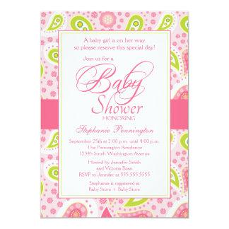 Chic hot pink green paisley baby shower invitation