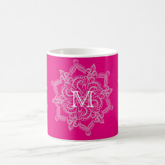 Chic Hot pink mandala monogram 11 oz Classic Mug
