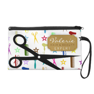 Chic Hues with Black Hair Shears Custom Wristlet Clutches