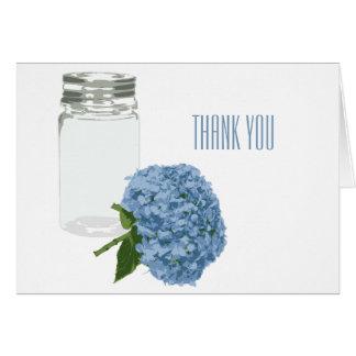 Chic Hydrangea and Mason Jar Thank You Note Card
