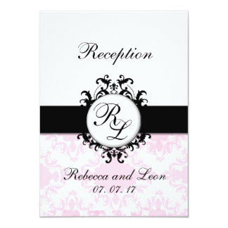 Chic Initials Pink Damask Wedding Reception Card