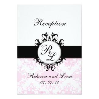 Chic Initials Pink Damask Wedding Reception Card 11 Cm X 16 Cm Invitation Card