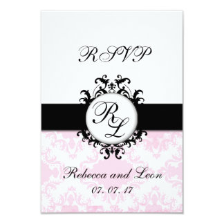 Chic Initials Pink Damask Wedding RSVP Card