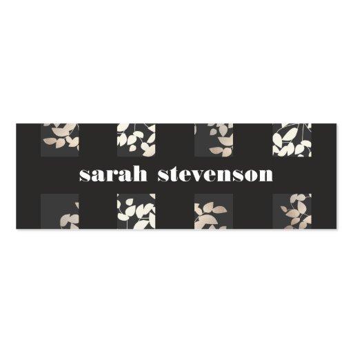 Chic Interior Design Elegant Leaves Black Modern Business Card Template