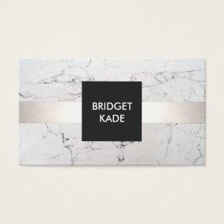 Chic Interior Designer Silver Striped White Marble