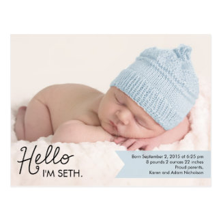 Browse the Baby Announcement Postcards Collection and personalise by colour, design or style.