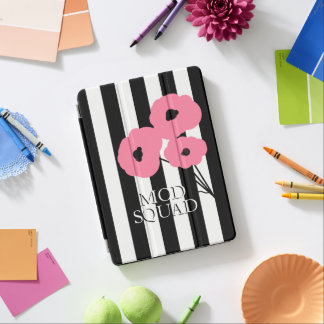 CHIC IPAD PRO COVER_MOD PINK  POPPIES/BLACK STRIPE