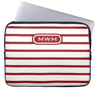 CHIC IPAD SLEEVE_16 RED/WHITE STRIPES COMPUTER SLEEVE