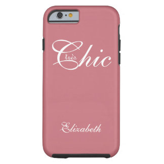 "CHIC IPHONE6 CASE_""tresChic"" STRAWBERRY PINK/WHITE Tough iPhone 6 Case"
