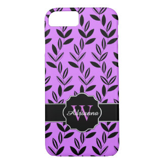 CHIC IPHONE7 CASE_MODERN LILAC/BLACK FLORAL VINES iPhone 7 CASE