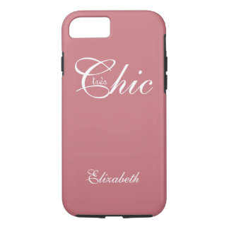 "CHIC iPhone7 CASE_""tresChic"" STRAWBERRY PINK/WHITE iPhone 7 Case"