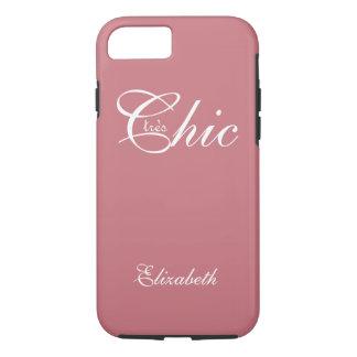 "CHIC iPhone7 CASE_""tresChic"" STRAWBERRY PINK/WHITE iPhone 7 Case"
