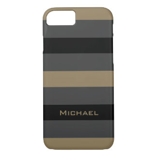 CHIC iPhone 7 CASE_CAMEL/BLACK/GRAY STRIPES #1 iPhone 7 Case