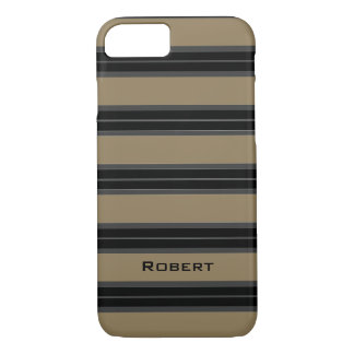 CHIC iPhone 7 CASE_CAMEL/BLACK/GRAY STRIPES #4 iPhone 7 Case