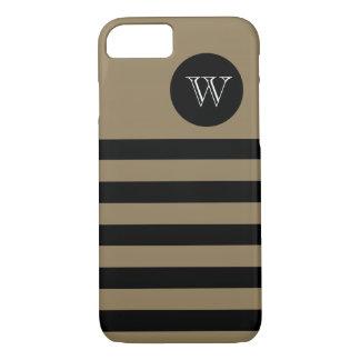 CHIC iPhone 7 CASE_CAMEL/BLACK STRIPES #400. iPhone 7 Case