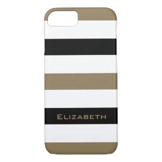 CHIC iPhone 7 CASE_CAMEL/BLACK/WHITE STRIPES #1 iPhone 7 Case