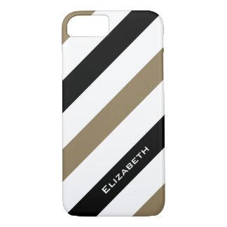 CHIC iPhone 7 CASE_CAMEL/BLACK/WHITE STRIPES iPhone 7 Case
