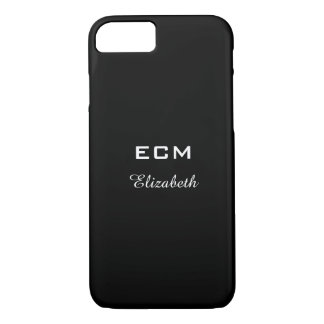 CHIC iPhone 7 CASE_ WHITE INITIALS/NAME ON BLACK iPhone 8/7 Case