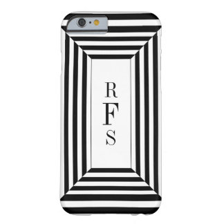 CHIC_IPHONE CASE_BLACK STRIPES W/MONOGRAM BARELY THERE iPhone 6 CASE