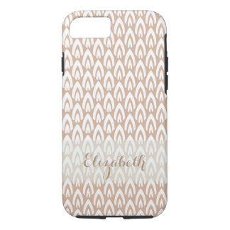 CHIC IPHONE CASE_MODERN FLAME_WHITE ON SOFT BROWN iPhone 7 CASE