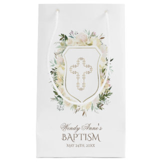Chic Ivory Watercolour Floral Girl Christening Small Gift Bag