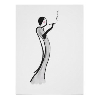 Chic Jazz Age Lady Illustration Poster Print