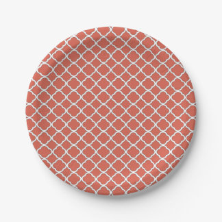 Chic Jelly Bean Orange Quatrefoil Maroccan Pattern Paper Plate