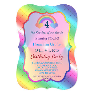 Chic Joyful Rainbow Arrows BOY Birthday Invitation