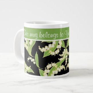 Chic Jumbo Coffee Mug: Lilies of the Valley, Black Large Coffee Mug