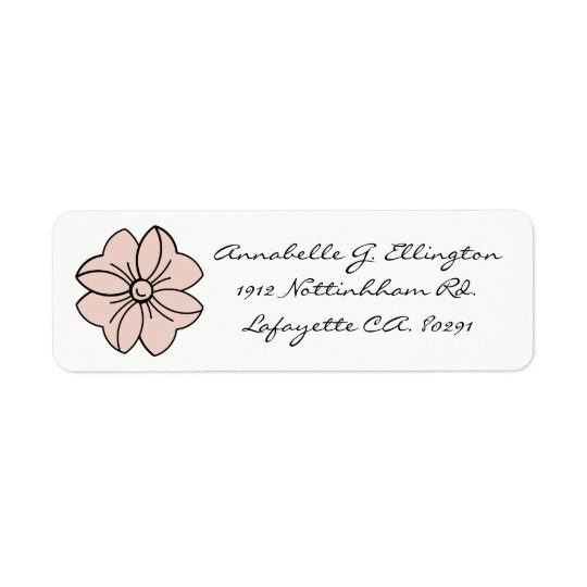 CHIC LABEL_PALE DOGWOOD PINK BOW ON WHITE RETURN ADDRESS LABEL