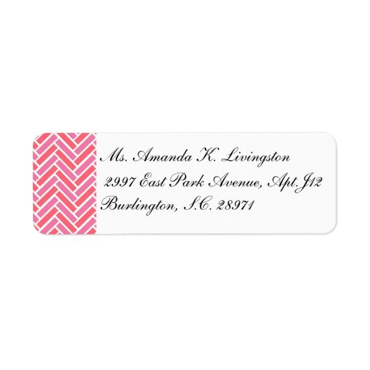 CHIC LABEL_PINK/CORAL/WHITE CHEVRON RETURN ADDRESS LABEL