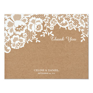 Chic Lace Kraft Wedding Thank You Flat Note Card