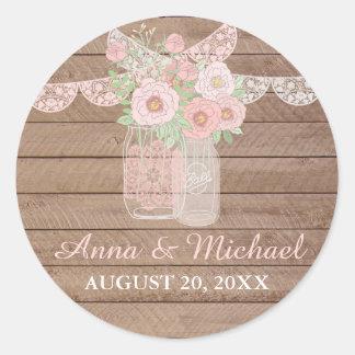 Chic Lace Mason Jar & Wood Wedding Sticker