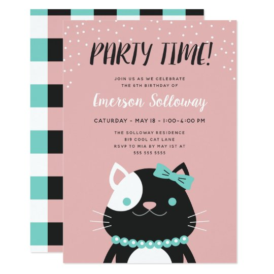 Chic Lady Cat Pink Kids Birthday Party Card