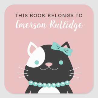 Chic Lady Cat | Pink This Book Belongs To Square Sticker