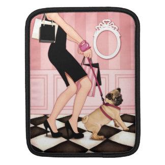 Chic lady walking her pug iPad sleeves