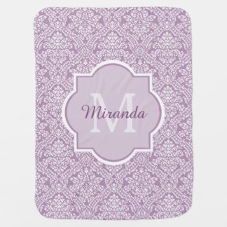 Chic Lavender Purple Damask Monogram With Name Baby Blanket