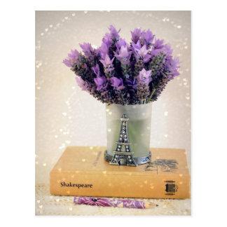 Chic Lavender Still Life, Eiffel Tower, notebook Postcard