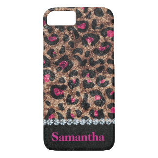 Chic leopard pink animal diamond personalized iPhone 8/7 case