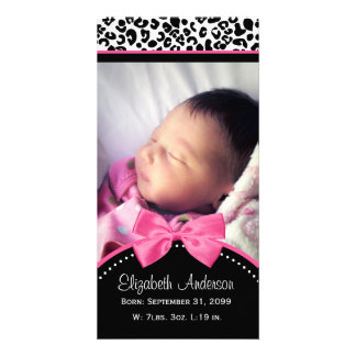 Chic Leopard Print Baby Photo Birth Announcement Card